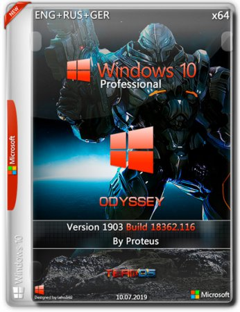 Windows 10 Pro x64 1903 Odyssey by Proteus (ENG+RUS+GER/2019)