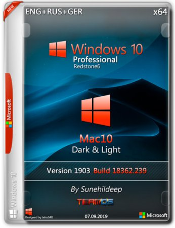 Windows 10 Pro x64 1903 Mac10 Dark & Light By Sunehildeep (ENG+RUS+GER/2019)