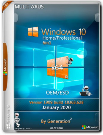 Windows 10 Home/Pro x64 1909 6in1 OEM/ESD Jan 2020 by Generation2 (MULTi-7/RUS)