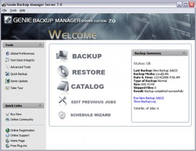 Genie Backup Mananager Server Edition 7.0.210.380